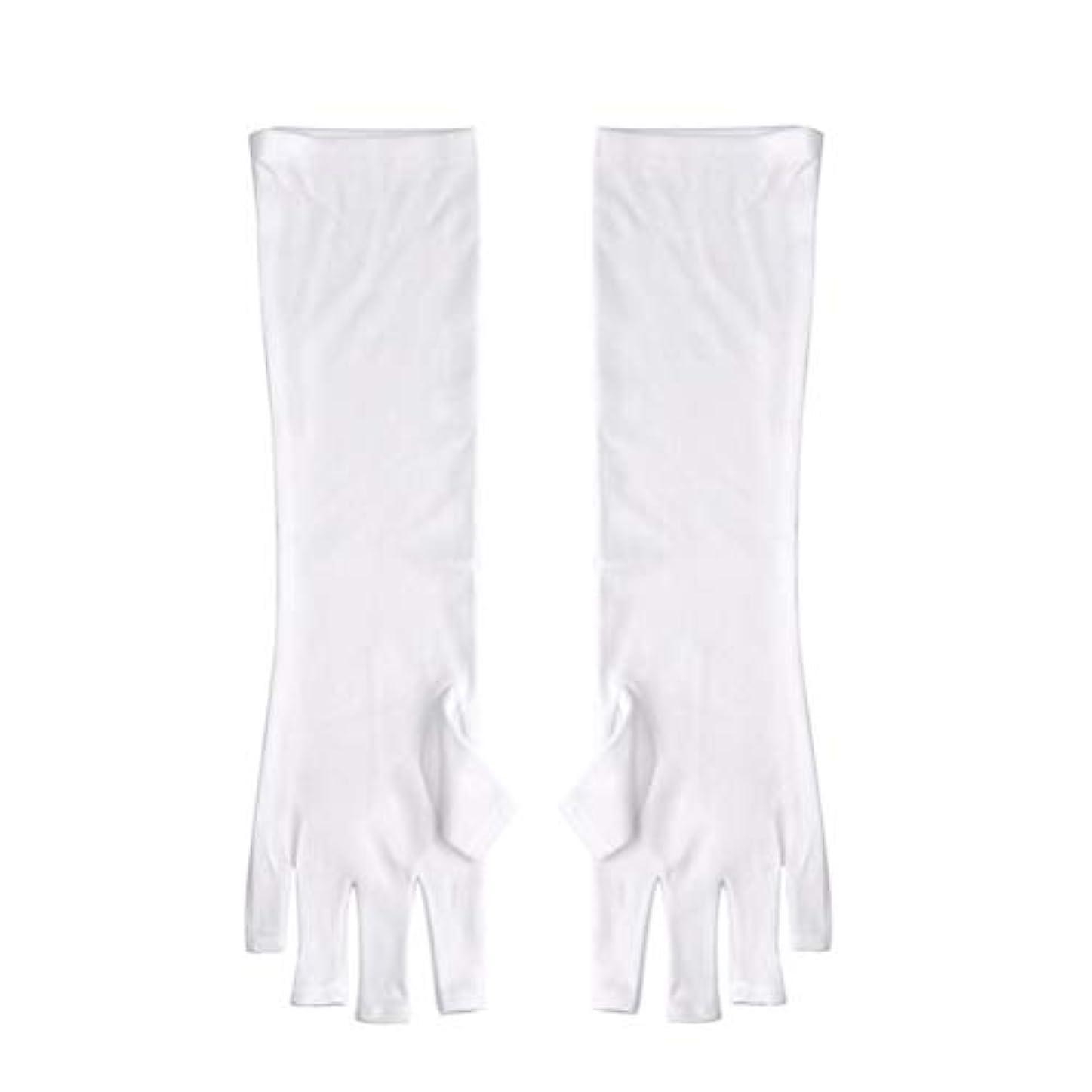 風味悪名高い欠伸Frcolor ネイルUVシールド手袋 ネイルアートグローブ 紫外線防止 マニキュア抗UVグローブ 半指 手保護 マニキュアドライヤーツール