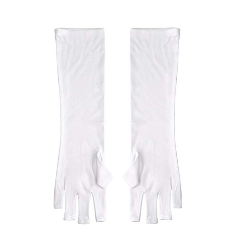 チーター頼るバッジFrcolor ネイルUVシールド手袋 ネイルアートグローブ 紫外線防止 マニキュア抗UVグローブ 半指 手保護 マニキュアドライヤーツール