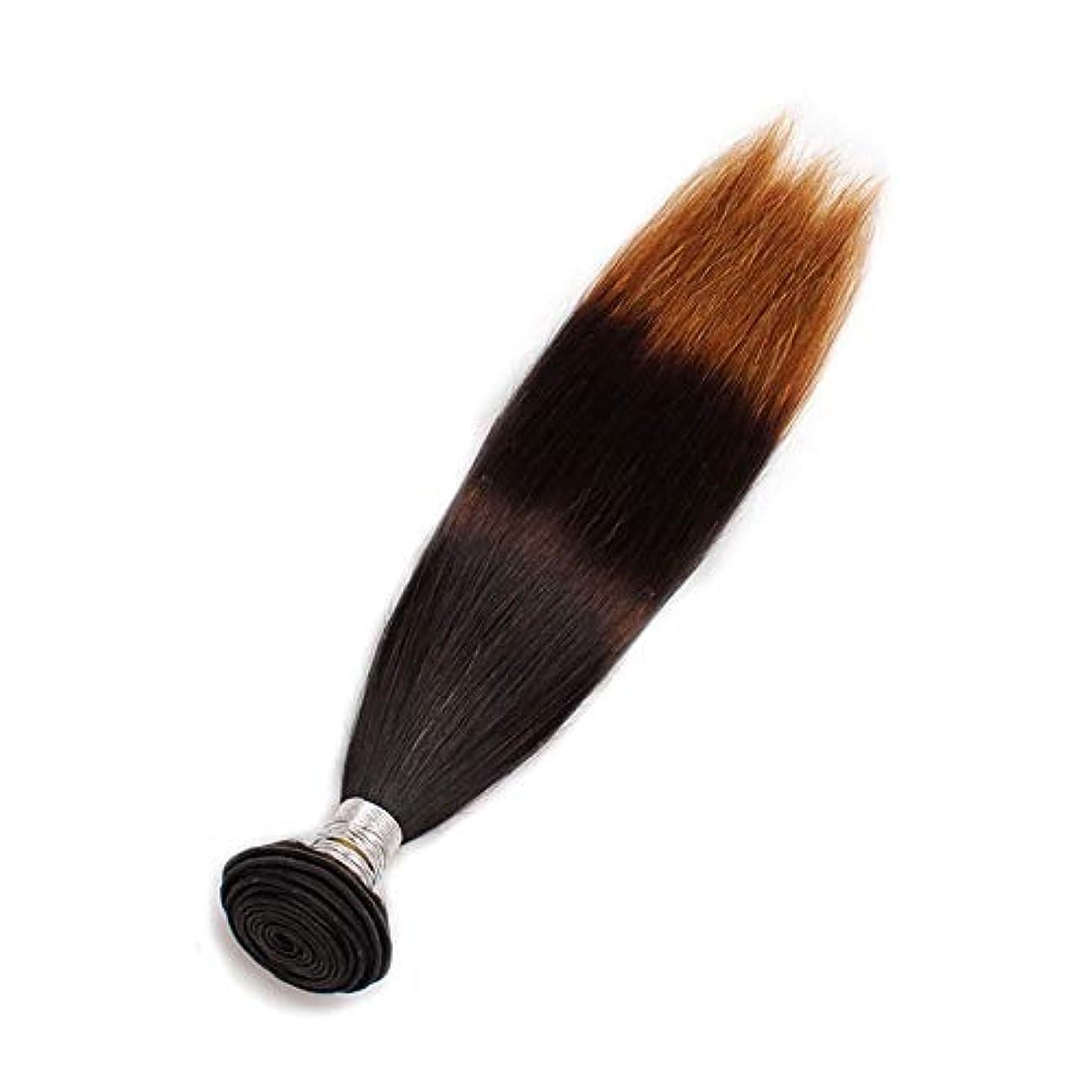 試用脚調停するWASAIO 100グラム)1束3トーンカラー、ブラジル人毛曲がっていない織りオンブルヘアエクステンション(10「-24」 (色 : ブラウン, サイズ : 16 inch)