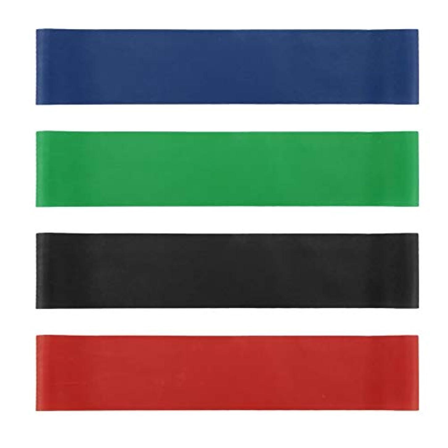手当宿る演じる4本の伸縮性ゴム弾性ヨガベルトバンドプルロープ張力抵抗バンドループ強度のフィットネスヨガツール - レッド&ブルー&グリーン&ブラック