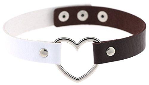 [해외]C-Princess 하트 매력 초커 팔찌 2Way 사양 여성 PU 가죽 배색 목걸이 팔찌 액세서리 귀여운/C-Princess Heart Charm Choker Bracelet 2 Way Specifications Women`s PU Leather Coloring Necklace Bangle Accessories Cute