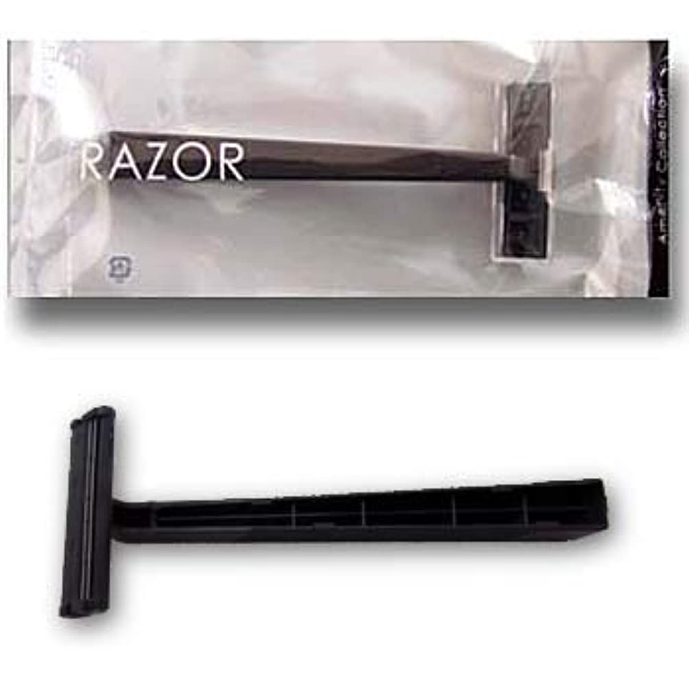 ぼろ暗い全滅させるホテル業務用 カミソリ クリアシリーズ 2枚刃 黒ハンドル (1セット250本入)