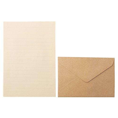 無印良品 再生紙クラフトレターセット・A5 封筒洋型2号6枚_便箋A5サイズ12枚×4