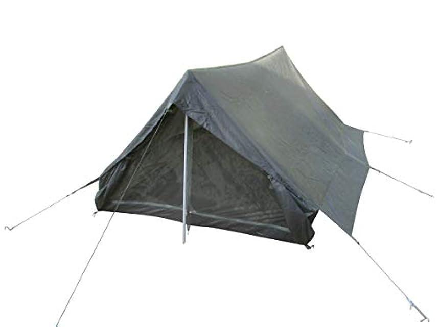 エッセイマッサージ雇用フランス陸軍 官給品 テント 2人用 グランドシート付き OLIVE DRAB 軍払下 未使用品 エントランス1カ所 蚊帳付き
