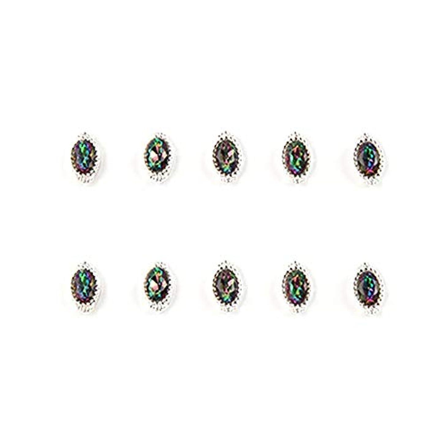 奴隷理容師インタフェース10個入り/ロットシルバーアロイネイルアートストーン美容ネイルアートの装飾ジュエリーカラフルなデザイン洗練ジュエリー