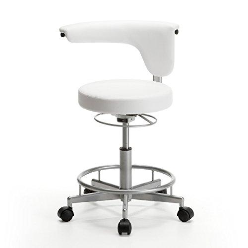 サンワダイレクト ラウンドチェア 丸椅子 キャスター付き 高さ調節 背もたれ コンパクト ホワイト 100-SNC019W