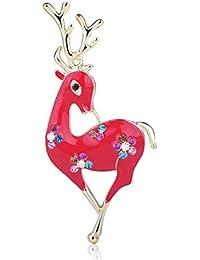 MECHOSEN レディース クリスマス ブローチ 動物 飾り かわいい 鹿 クリスタル ゴールド 赤 ホワイト プレゼント 冬 シンプル 合金 18ゴールド ピンバッジ オシャレ 子供