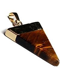SODIAL(R)新しいトレンディ ゴールドメッキ 半貴石宝石三角錐チャクラペンダント ネックレス用品 イエロータイガーアイ