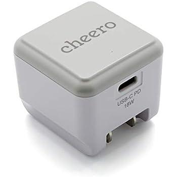 cheero USB-C PD Charger 18W (パワーデリバリー対応 充電器 小型アダプタ) 対応機種へ超高速充電 AUTO-IC搭載 折り畳み式プラグ 1ポート CHE-324-WH