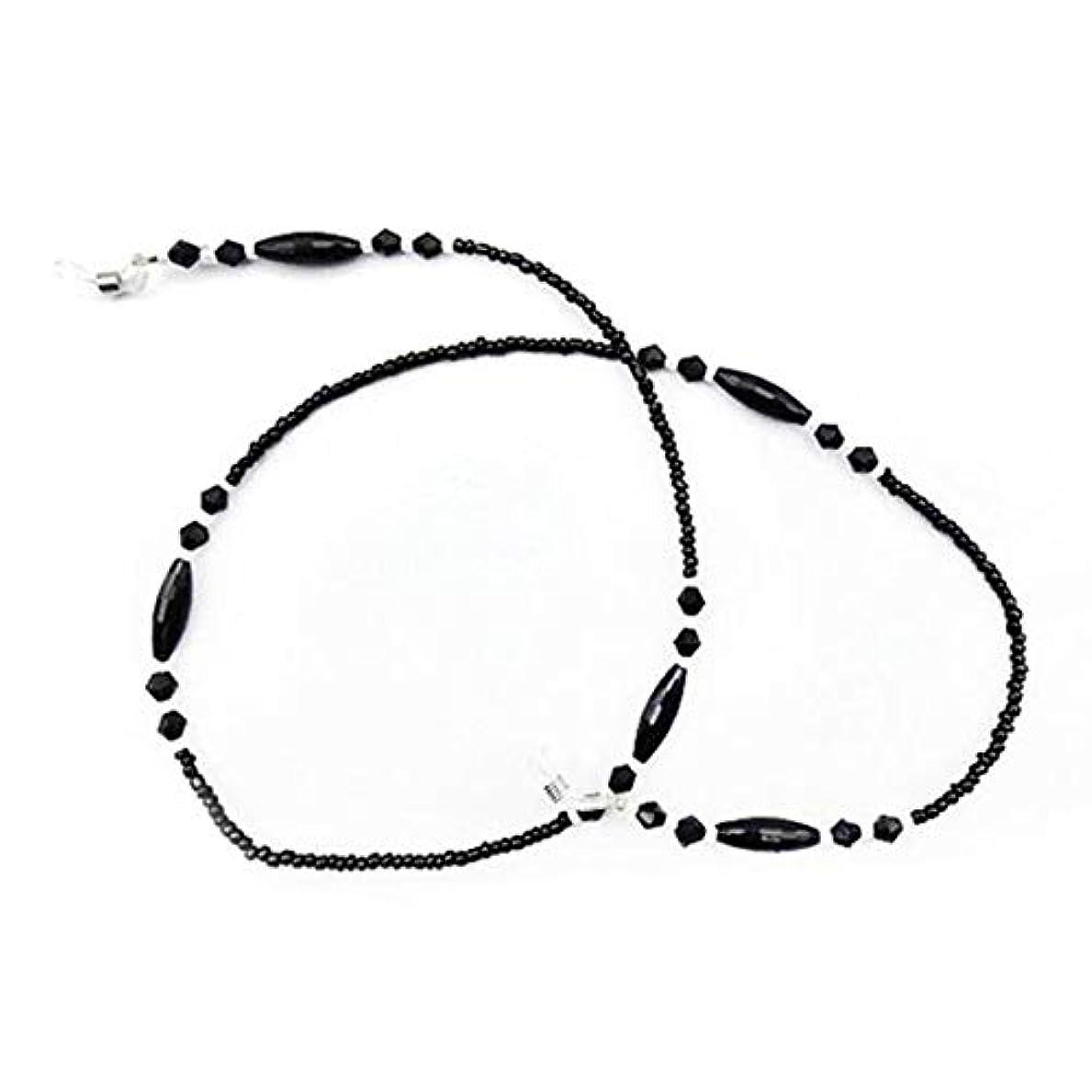原油から聞く億Blackfell 眼鏡チェーン女性ブラックアクリルビーズチェーン滑り止めアイウェアコードホルダーネックストラップ老眼鏡ロープ