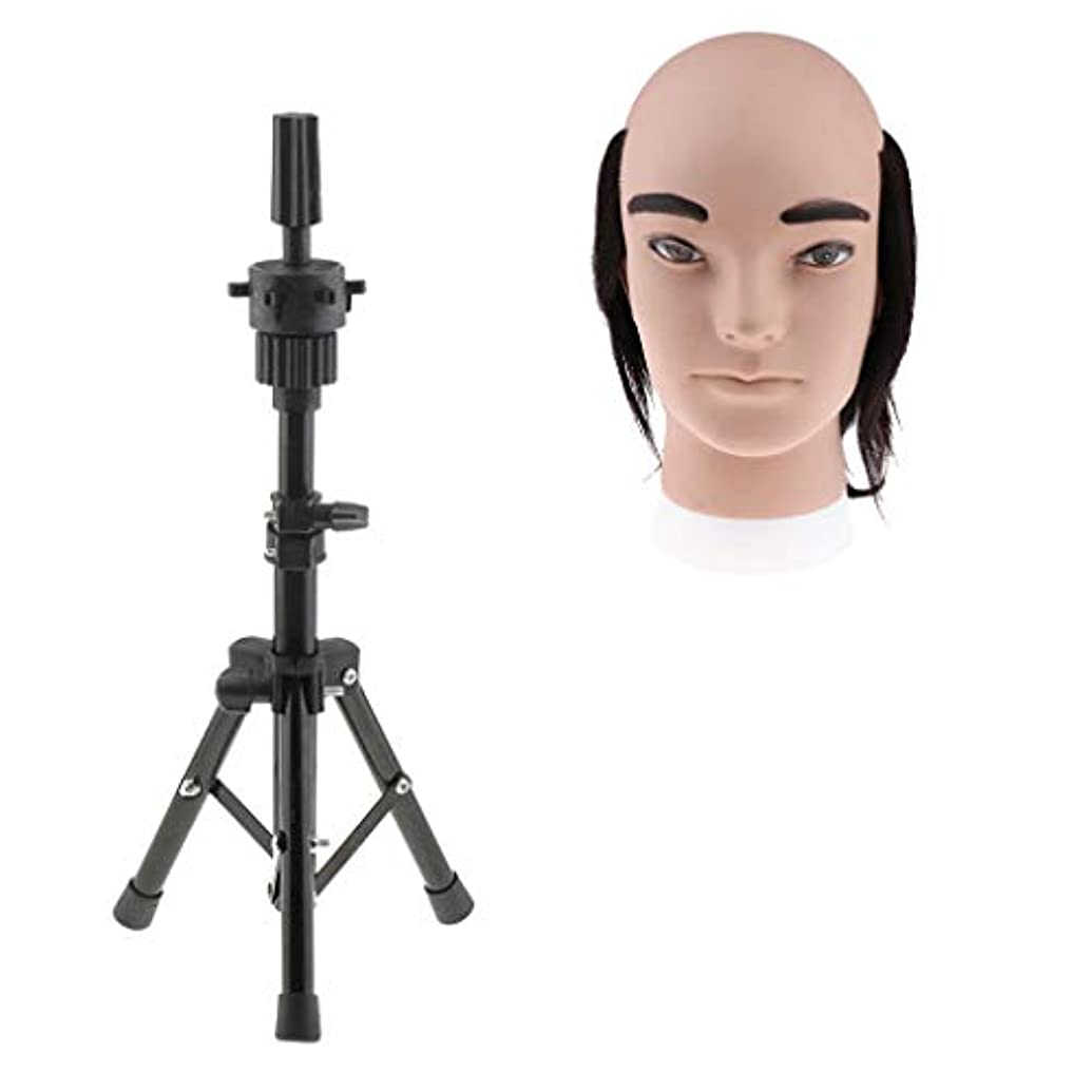 不調和バンジョーアコードCUTICATE 人間の髪毛 男性 マネキン トレーニング マネキン美容人形 人形の頭付き三脚ホルダー