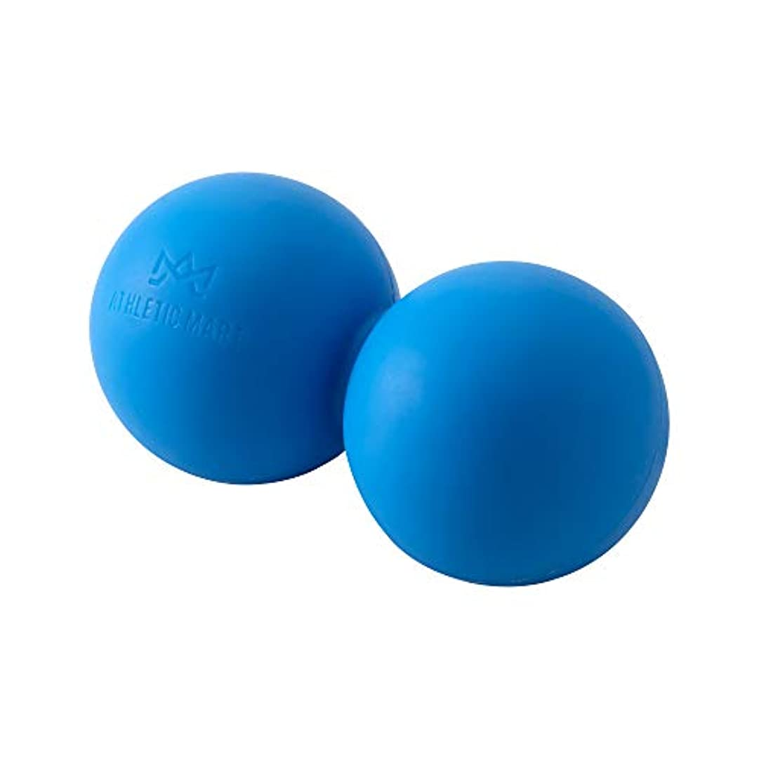シャトル欠員領収書ATHLETIC MART ピーナッツ型ストレッチボール マッサージボール ラクロスボール2個サイズ ツボ押し (ブルー)