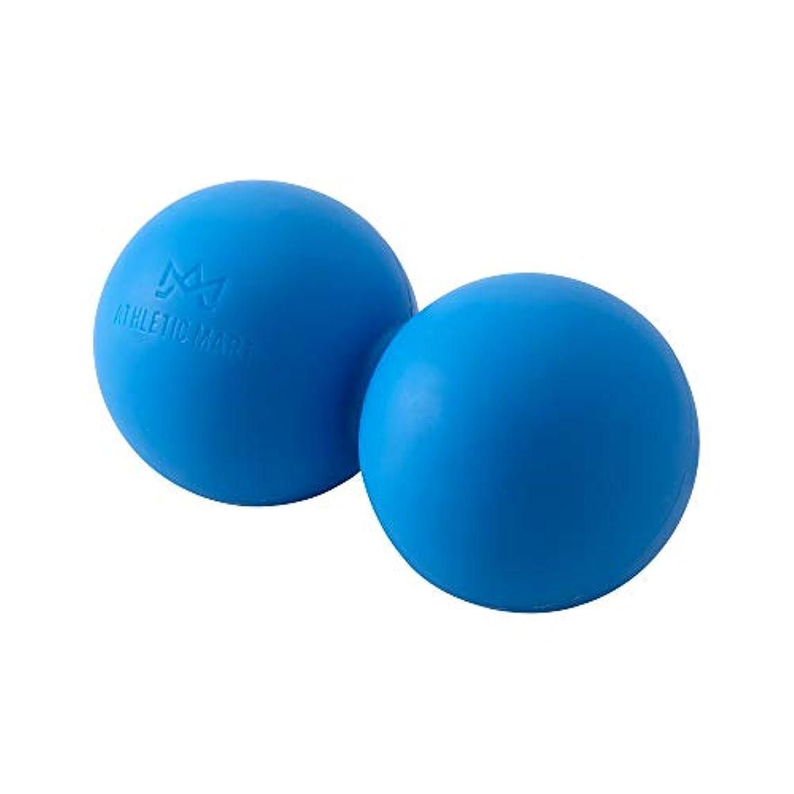 連邦官僚深めるATHLETIC MART ピーナッツ型ストレッチボール マッサージボール ラクロスボール2個サイズ ツボ押し (ブルー)