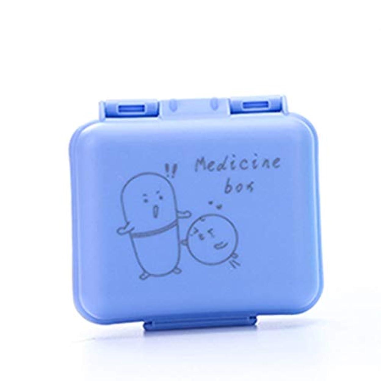 罪人タイプライター印象的なポータブルトラベルピルボックス1週間ポータブルミニピル薬箱いっぱい丸薬小さな調剤箱ピルボックス 薬箱 (Color : Blue, Size : 7.2cm×7.6cm×3cm)