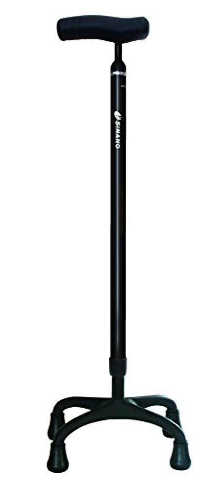 直立数拍手【非課税】シナノ ソフトグリップ 4点杖+ ブラック