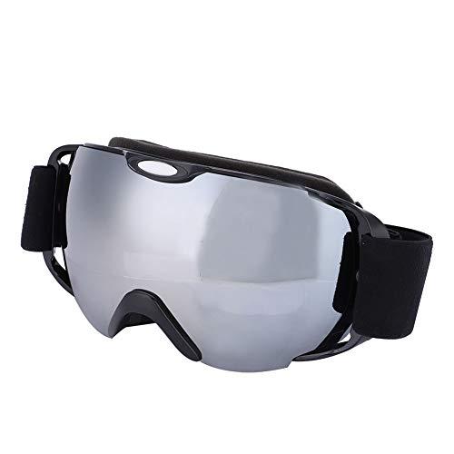 スキーゴーグル スノボーゴーグル メガネ対応 スノーゴーグル ダブルレンズ 交換可フレームレス くもり止め 紫外線防止 防風防塵 メンズ レディース ジュニア用 スポーツ用ゴーグル (シルバー)