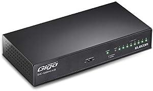 エレコム スイッチングハブ ギガビット 8ポート 金属筐体 マグネット付 電源内蔵 ブラック 簡易パッケージ EHC-G08MN2A-HJB