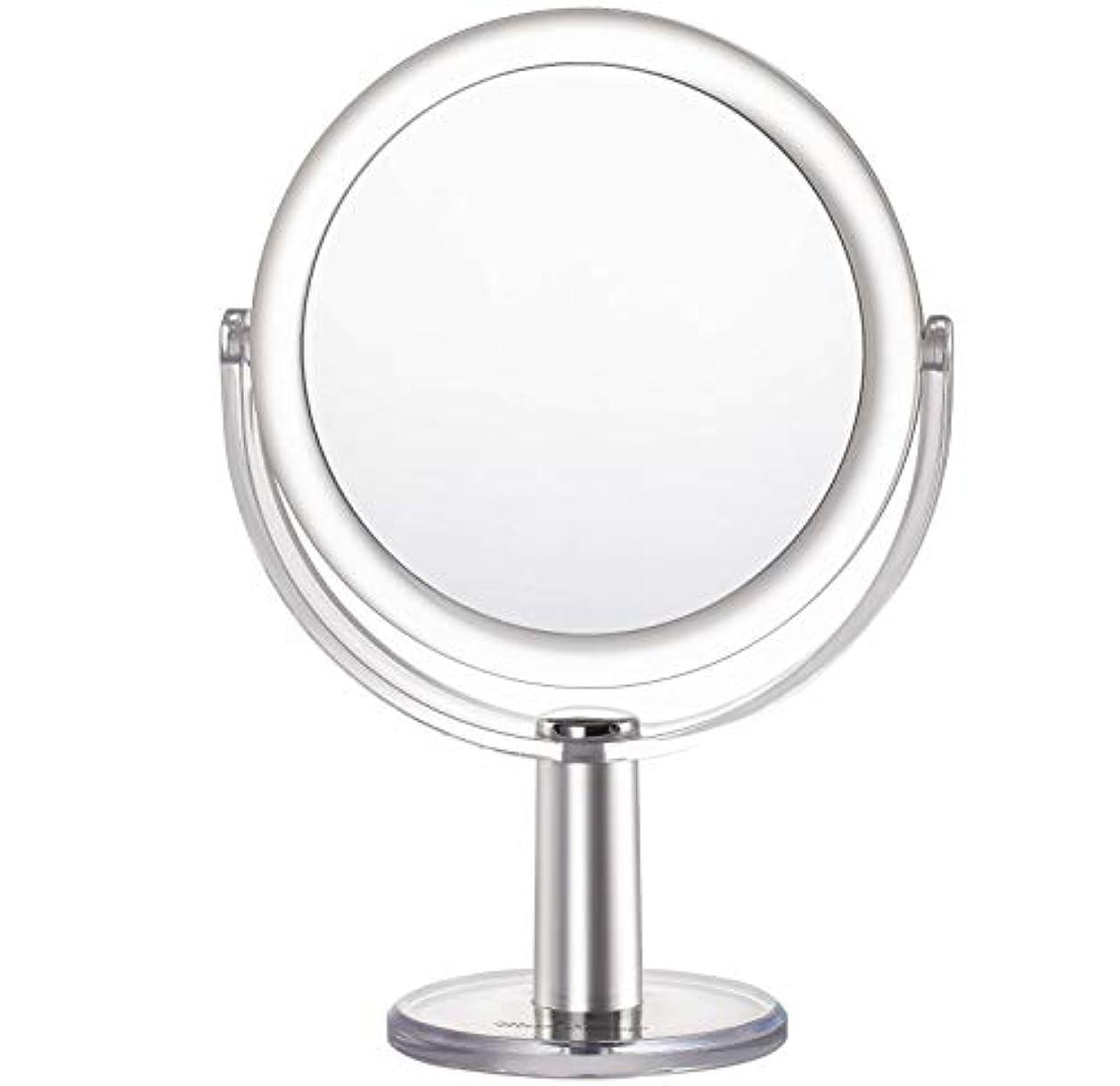 光電豊富に帰るMiss Sweet 5倍拡大鏡付き スタンドミラー 卓上化粧鏡 両面鏡 1倍*5倍 (Color 2 (1倍*5倍))