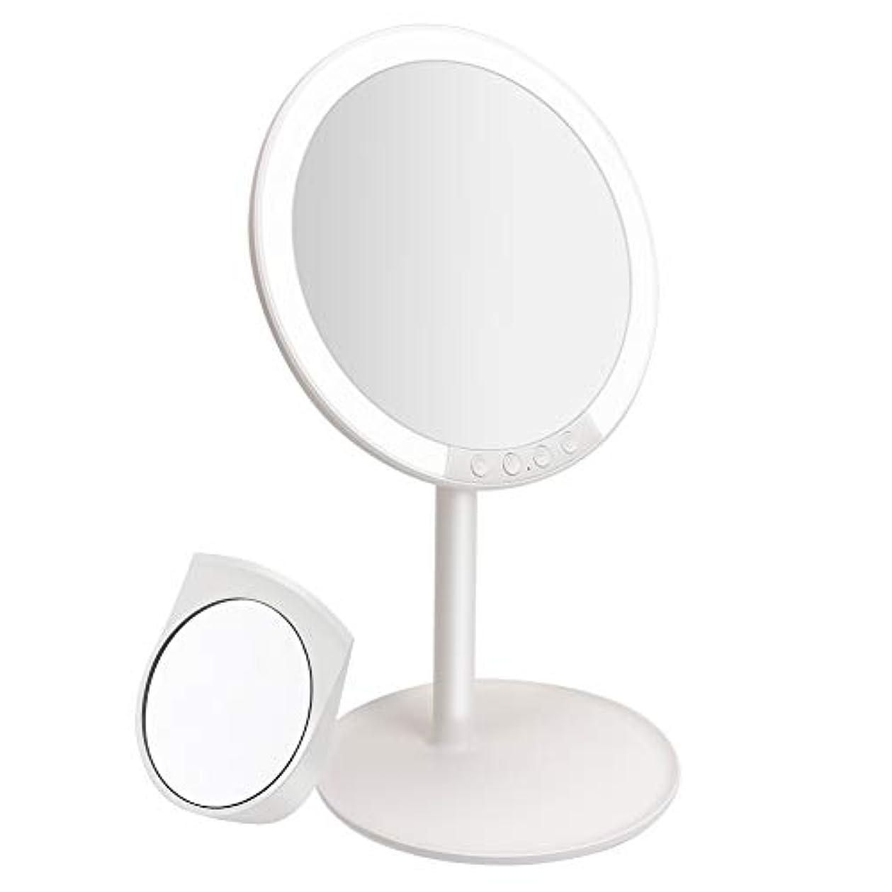 著名なありがたい司令官化粧鏡 卓上ミラー 鏡 化粧ミラー 女優ミラー 充電式 led付き 7倍拡大鏡付き 寒暖色調節可能 明るさ調節可能 120°回転 ホワイト