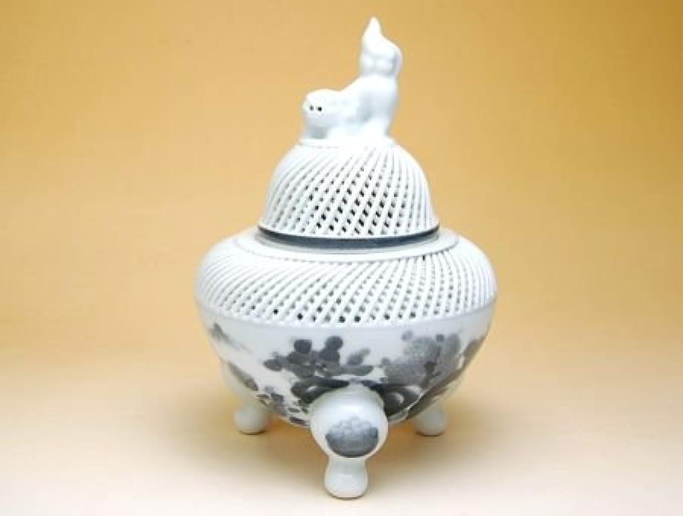 後ろにとまり木摩擦有田焼 網目墨山水 (大)香炉【サイズ】径13.5cm×高さ20cm