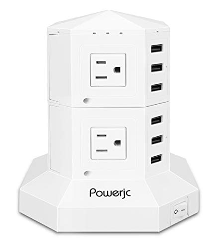 電源タップ タワー型 8個口 ACコンセント 6USBポート スイッチ たこ足配線 延長コード 3m 雷ガード ホワイト