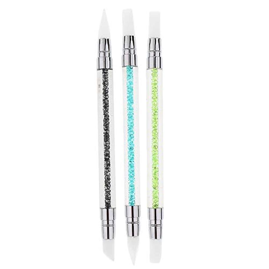 ゴージャス重なる本質的ではない3本セット ネイルアート ブラシ 爪用ペン ドットツール クラフト 2way 爪絵画ツール シリコン - 3本セット