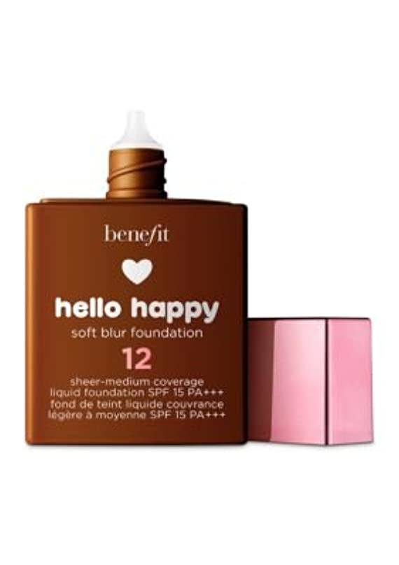 明確な連続的処理するBENEFIT COSMETICS Hello Happy Soft Blur Foundation (12 - dark warm)