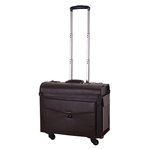 TABITORA(タビトラ) ビジネスキャリーバッグ ノートパソコン収納可 機内持ち込み 軽量 横型スーツケース 4輪 出張 復古スタイル ダイヤルロック ダックブラウン