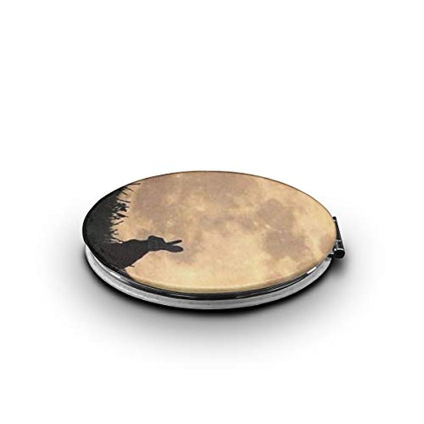 コンプライアンス趣味回転携帯ミラー 月と兎ミニ化粧鏡 化粧鏡 3倍拡大鏡+等倍鏡 両面化粧鏡 楕円形 携帯型 折り畳み式 コンパクト鏡 外出に 持ち運び便利 超軽量 おしゃれ 9.0X6.6CM