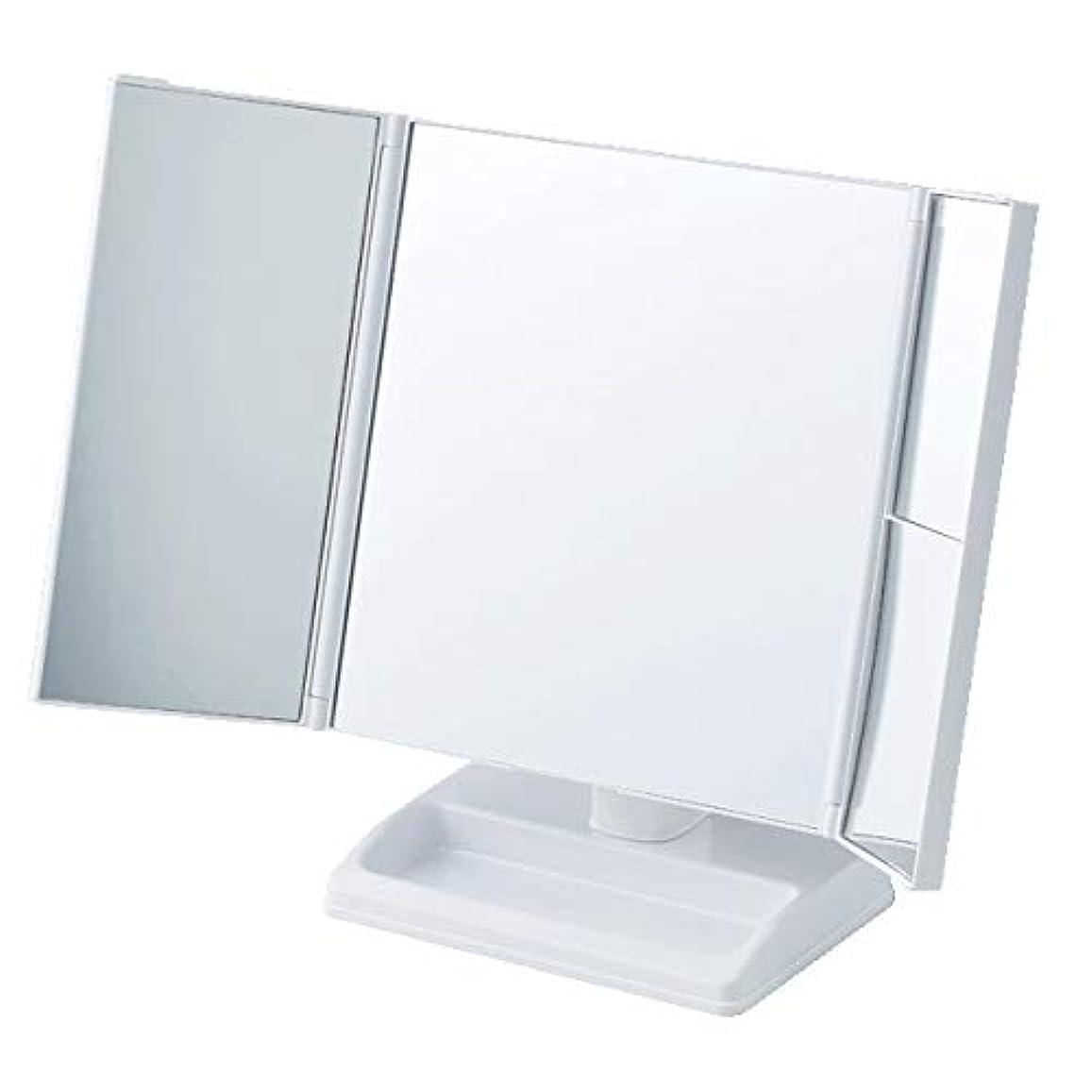 逃げる偏見期限テーブルで使う拡大鏡付三面ミラー