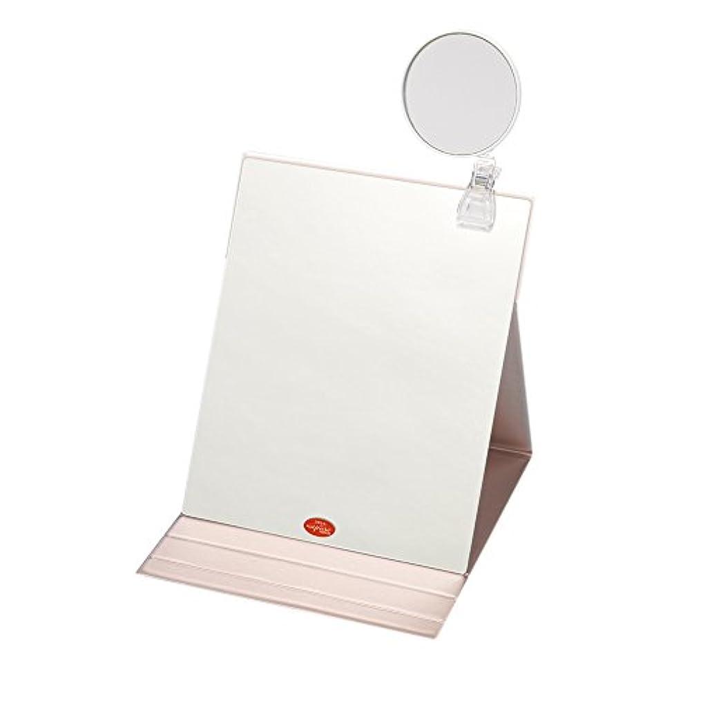 賢い確立考慮ナピュアミラー 3倍拡大鏡付きプロモデル折立ナピュアミラー3L ピンクゴールド HP-39×3