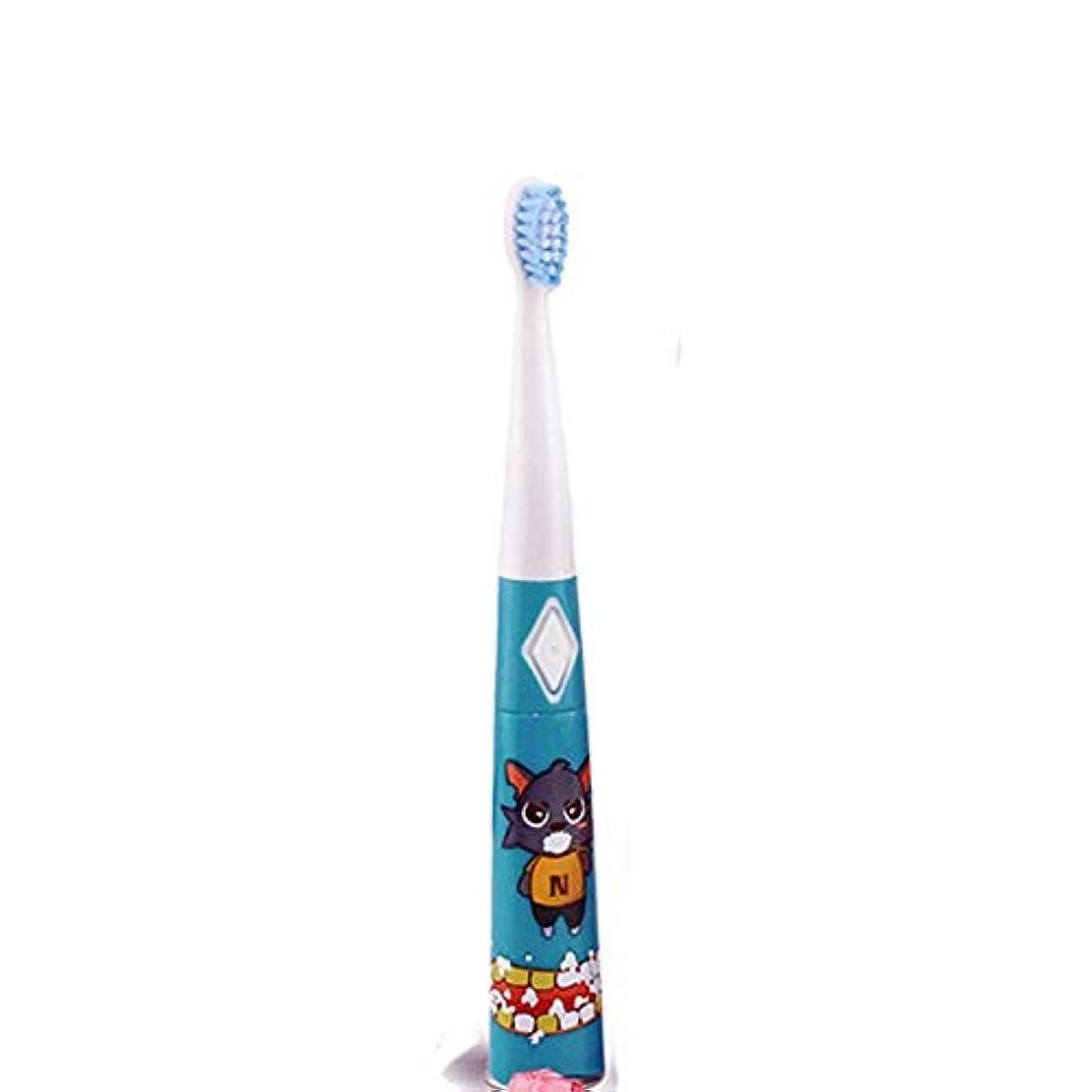 外部新しさペナルティ電動歯ブラシ 子供の漫画のパターン電動歯ブラシ防水ソフト歯ブラシ 子供と大人に適して (色 : 青, サイズ : Free size)