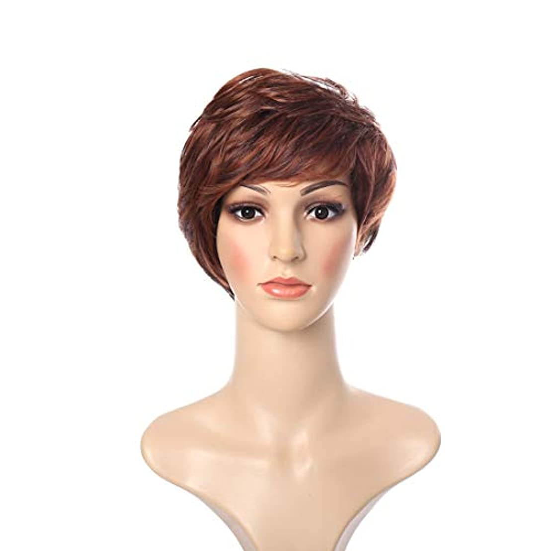 繊細短命質素なYOUQIU 女子ショートヘアカールウィッグふわふわフェイクレイヤード帽子グラデーションヨーロッパやアメリカのヘアスタイルウィッグ (色 : ブラウン)