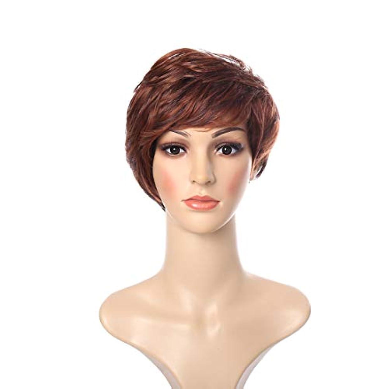 ジャングルマトロン主張YOUQIU 女子ショートヘアカールウィッグふわふわフェイクレイヤード帽子グラデーションヨーロッパやアメリカのヘアスタイルウィッグ (色 : ブラウン)