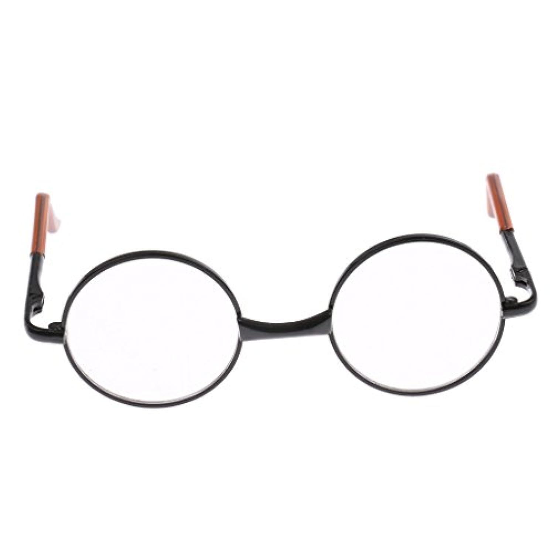 Perfk ドールアクセサリー ラウンド 金属フレーム眼鏡 12インチブライスドールのため 眼鏡 全18色 - ブラッククリア