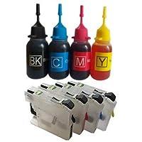 ブラザー BROTHER LC113 詰め替え専用カートリッジ (M) (自動リセットチップ付き/インク未充填) + BK/C/M/Y 4色インク (純正比 黒5倍/カラー8倍) インクのララ