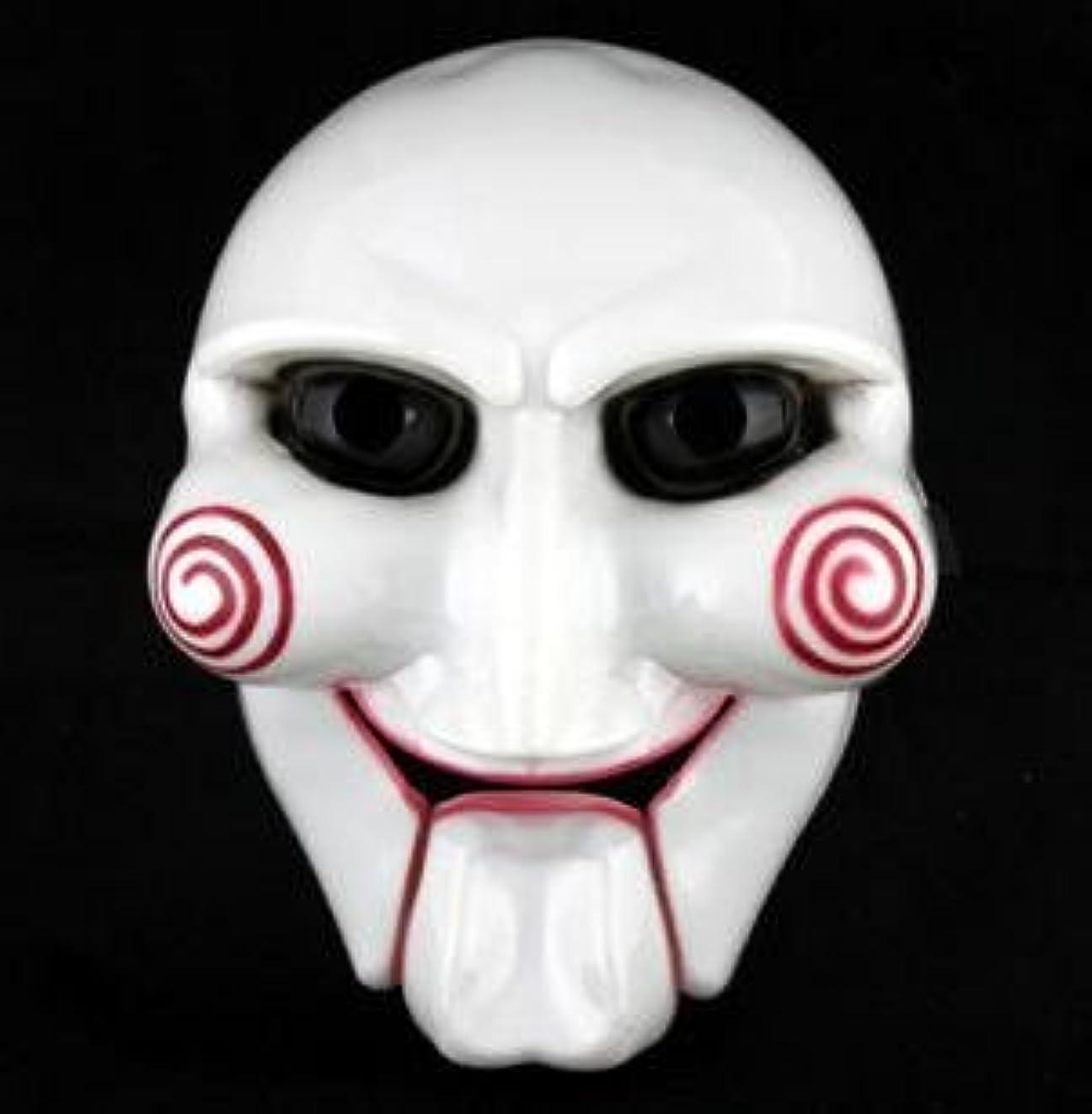 策定するクーポンチェスをするSAW ソウ ビリー人形風 マスク お面 ジグソウ キラー【コスプレ通販】イベントなどで活躍するコス。