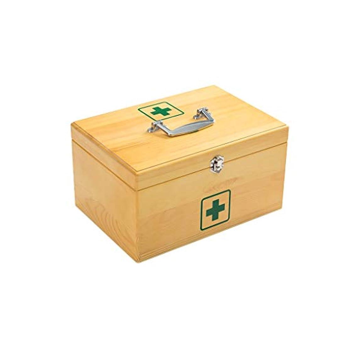 湾マーティフィールディングまばたき木製家庭用薬箱ポータブル救急箱2層薬収納ボックス Annacboy (Size : 30×21×16cm)