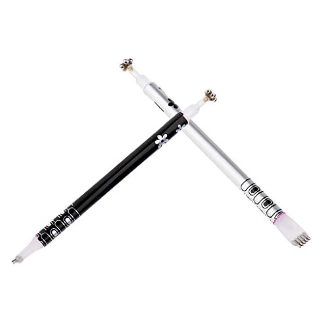 胸パース誤解Toygogo 2パックキャットアイ磁気スティック用UVジェルデュアルエンドマグネットペンマニキュアネイルアートツールDIY UVジェルペインティングデザインペン