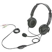 iBUFFALO 両耳ヘッドバンド式ヘッドセット 半密閉/ノイズキャンセリングマイク搭載 ブラック BSHSH12BK