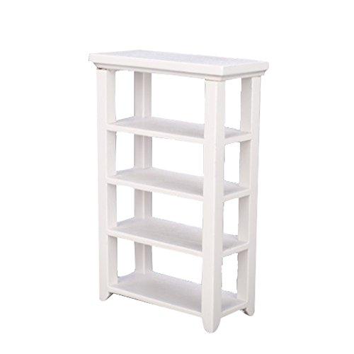 【ノーブランド品】ドールハウス 4層棚 家具木製 ホワイト  1/12 手作り アクセサリー