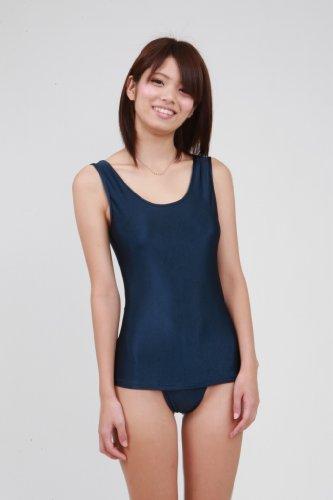 Knit fabrics old school swimsuit & disc water dark blue (KN08) female ML size