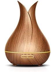 400ミリリットル超音波クールミスト加湿器ディフューザーカラー付きledライト用ホームヨガオフィススパ寝室ベビールーム - 木目 (Color : Brown wood grain)