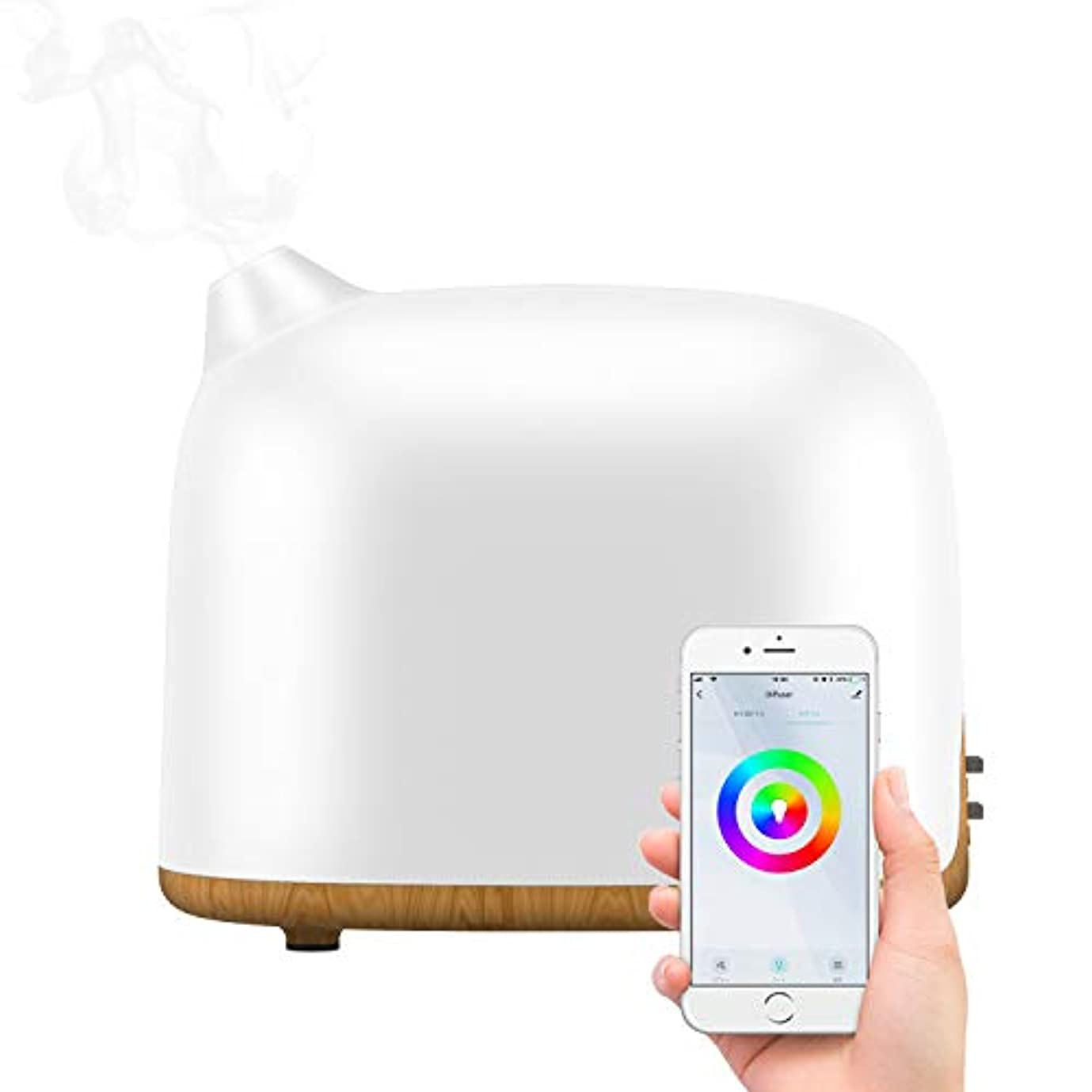 群がる教義九時四十五分[令和最新版]スマートアロマディフューザー MILcea スマホ連動 超音波アロマ加湿器 ミスト2段階調節 14色LEDライト変換 時間設定 静音 省エネ 空焚き防止機能付き Amazon Echo/Google Home対応 乾燥/花粉症対策 300ML 木目調
