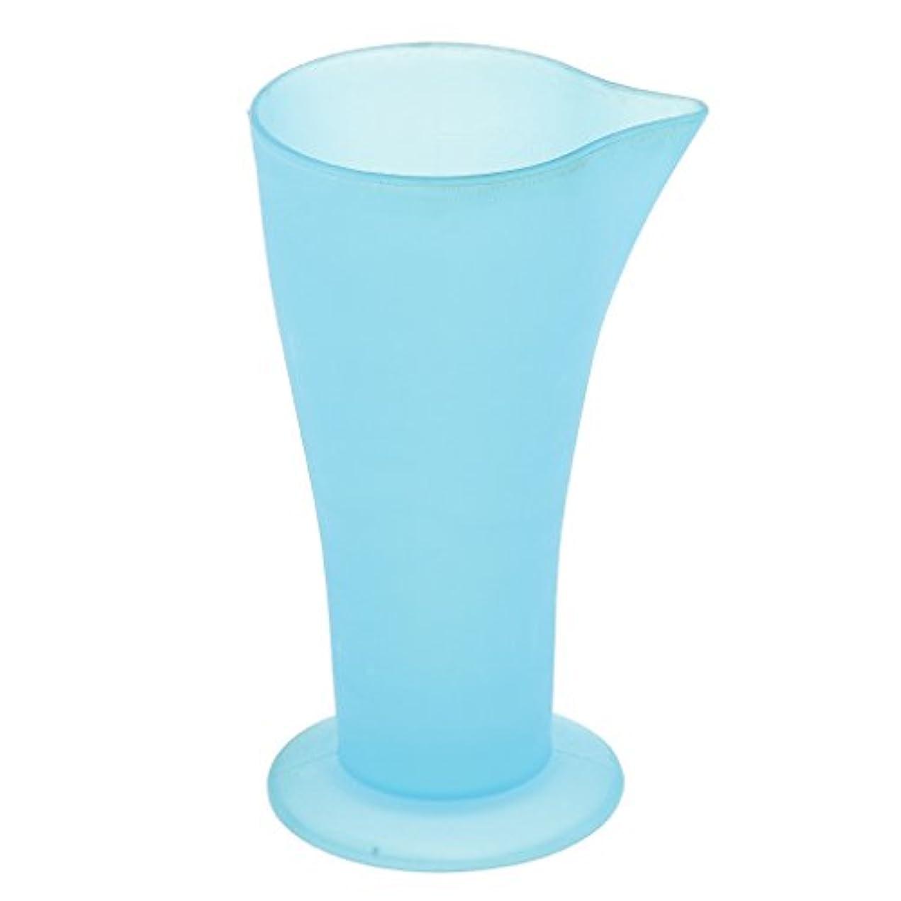 感謝するデコレーション急速なPerfk 計量カップ ヘアダイカップ ブルー プラスチック 再使用可能 髪型 サロン 髪の色合い 色の混合用