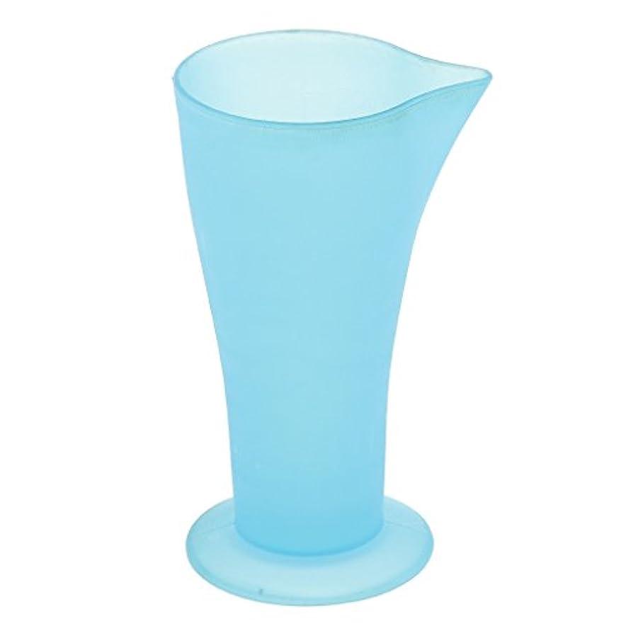 相関するモード木材計量カップ ヘアダイカップ ヘアカラーカップ ヘアダイ容器 ブルー プラスチック 再使用可能 髪型 サロン 髪の色合い 色測定カップ