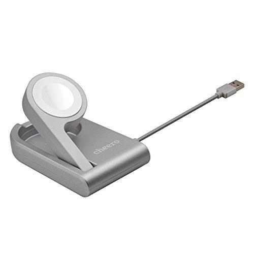cheero Charging Dock for Apple Watch ( MFi認証 ) アップルウォッチ専用 ワイヤレス充電機能付き折り畳みスタンド 38 mm / 42 mm どちらも対応 ケーブル長さ90cm