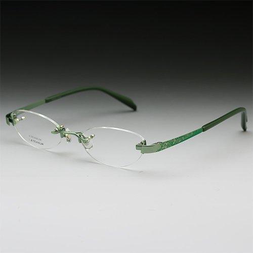 サバエワークス パソコン用メガネ (度数+0.00) PCメガネ ふちなし ツーポイント 日本製 チタン フォックス (NT539 グリーン) 49□18-140 男性 女性 HOYA(ブルーカット) 薄型非球面レンズ ケース付 度なし 眼鏡セット