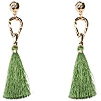 Colette Hayman - Gold Metal Loop Green Tassel Statement Earrings