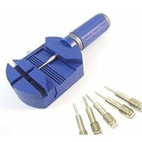 【プロ用時計工具】 時計ベルト調整 プラスチック製こまはずし 交換ピン5本付き(ブルー)